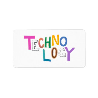 Technology modern word art tech geek fun colorful address label