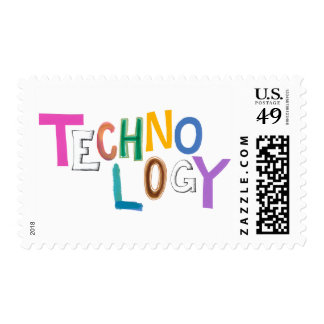 Technology modern word art tech geek fun colorful postage stamps
