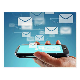 Technology on mobile phone postcard