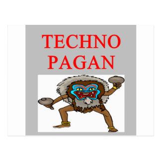 technology pagan joke postcard