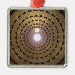 Techo de la bóveda en panteón en Roma, Italia Adorno Navideño Cuadrado De Metal