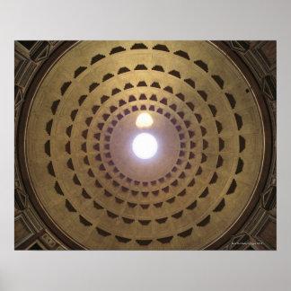 Techo de la bóveda en panteón en Roma, Italia Posters