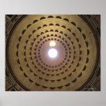 Techo de la bóveda en panteón en Roma, Italia Póster