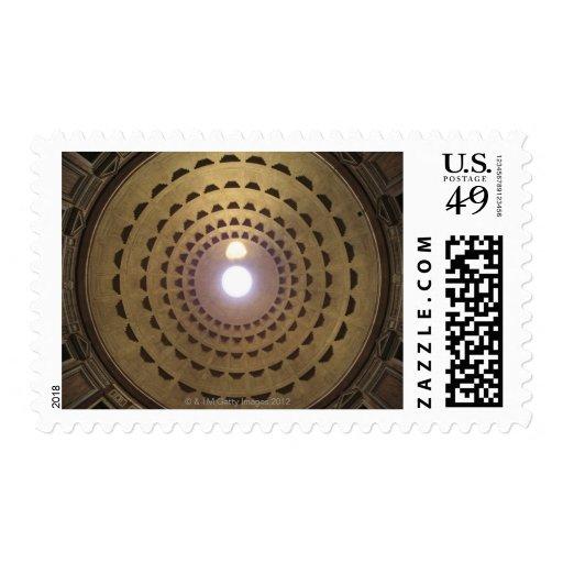 Techo de la bóveda en panteón en Roma, Italia Timbre Postal