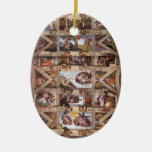 Techo de la capilla de Sistine Adorno Navideño Ovalado De Cerámica
