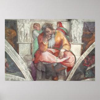 Techo de la capilla de Sistine: El profeta Jeremia Poster