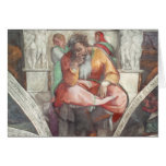 Techo de la capilla de Sistine: El profeta Jeremia Tarjeton
