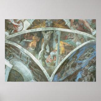 Techo de la capilla de Sistine: Haman Póster