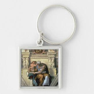 Techo de la capilla de Sistine: Sibila de Cumaean, Llavero Cuadrado Plateado