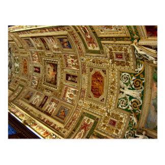 Techo en el museo de Vatican en Roma Italia Postca Postal