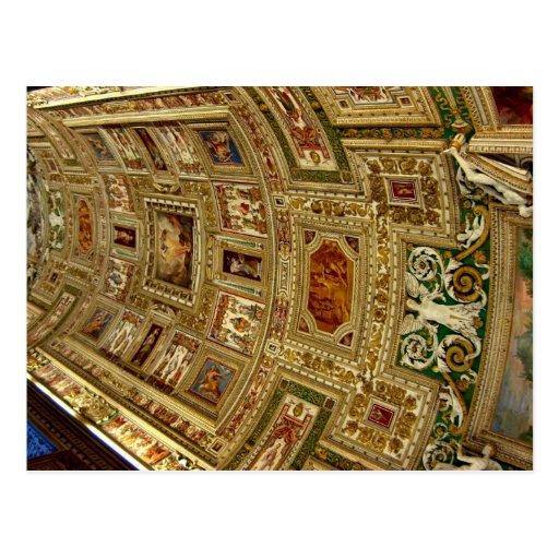 Techo en el museo de Vatican en Roma Italia Postca Tarjeta Postal
