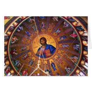 Techo ortodoxo griego - belleza del navidad tarjeta de felicitación