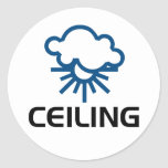 Techo - tiempo Sun y nubes Pegatina Redonda