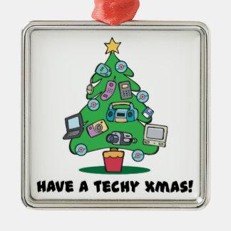 techy electronics chrismas tree square metal christmas ornament