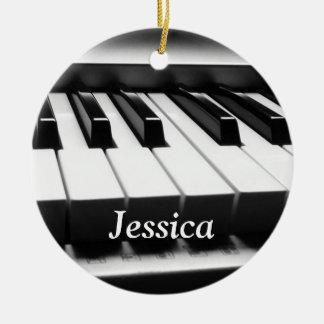 Teclado blanco y negro clásico adorno navideño redondo de cerámica
