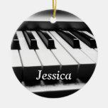 Teclado blanco y negro clásico ornamentos de navidad