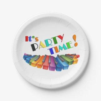 Teclado colorido del tiempo del fiesta plato de papel 17,78 cm