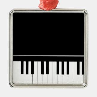 Teclado de piano adorno navideño cuadrado de metal