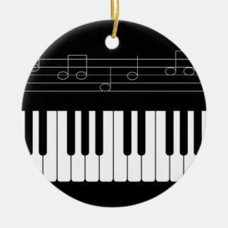 Teclado de piano adorno navideño redondo de cerámica