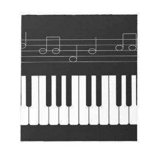 Teclado de piano libreta para notas