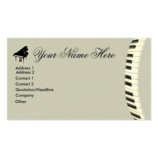 Teclado de piano de cola tarjetas personales