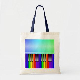 Teclado de piano del arco iris bolsa de mano