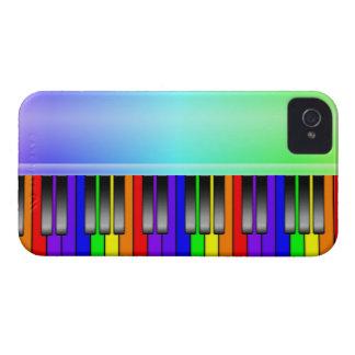 Teclado de piano del arco iris iPhone 4 fundas