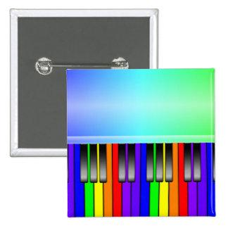 Teclado de piano del arco iris pin cuadrado