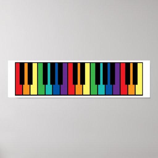 Teclado de piano del arco iris poster
