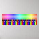 Teclado de piano del arco iris posters