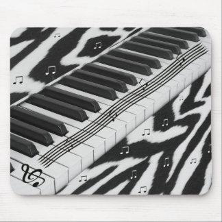 Teclado de piano del estampado de zebra alfombrilla de ratones