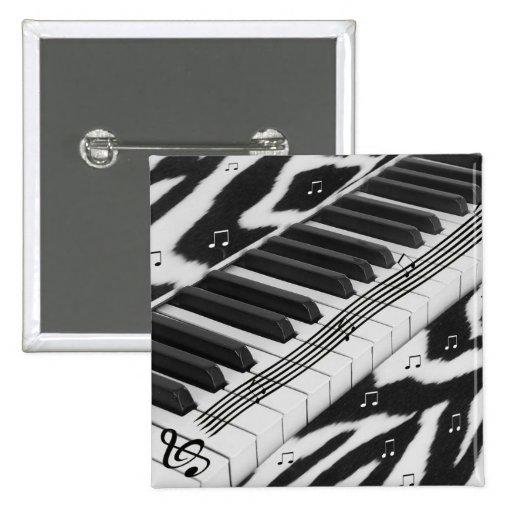 Teclado de piano del estampado de zebra pin