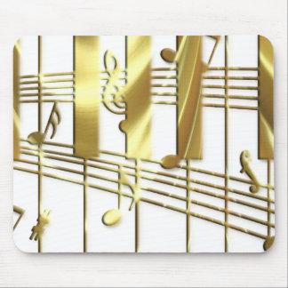 Teclado de piano del oro tapete de ratón