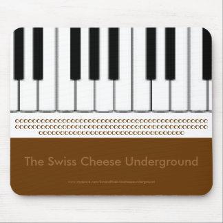 Teclado de piano el queso suizo subterráneo tapetes de ratón
