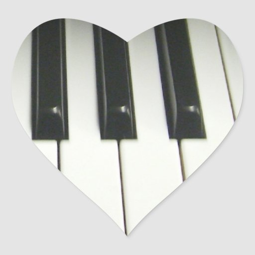 Teclado de piano pegatina en forma de corazón