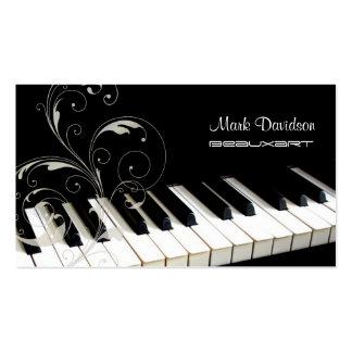 Teclado de piano+remolinos tarjetas de visita del