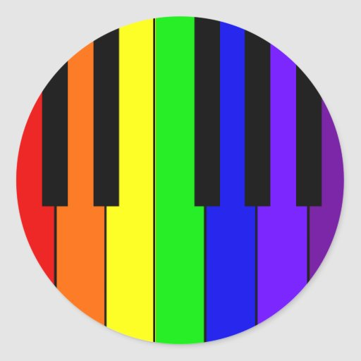 Teclado del arco iris etiqueta redonda