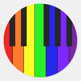 Teclado del arco iris pegatina redonda