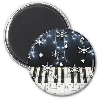 Teclado del copo de nieve del navidad del piano imán redondo 5 cm