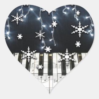 Teclado del copo de nieve del navidad del piano calcomanía de corazón personalizadas