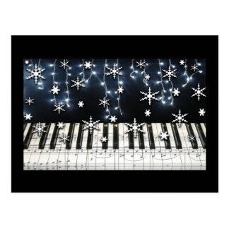 Teclado del copo de nieve del navidad del piano postales