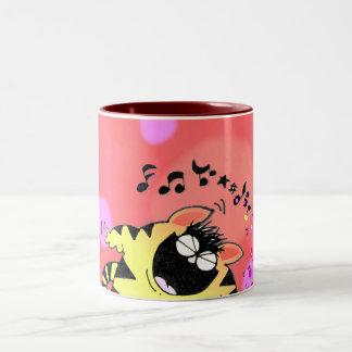 Teclado gordo del juego del gato taza de café de dos colores