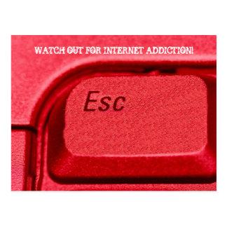 Teclado metálico rojo del botón del escape del tec tarjeta postal