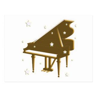 Teclado y estrellas de piano tarjeta postal