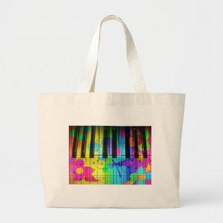 Teclado y flores eléctricos psicodélicos de piano bolsa tela grande