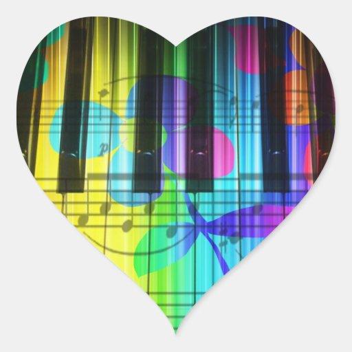Teclado y flores eléctricos psicodélicos de piano calcomanías corazones