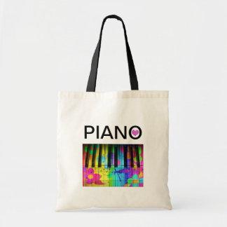 Teclado y notas coloridos de piano del arco iris bolsa tela barata