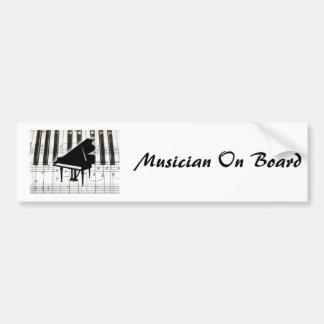 Teclado y notas de piano de cola pegatina para auto