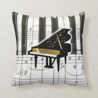 Teclado y notas de piano de cola almohadas
