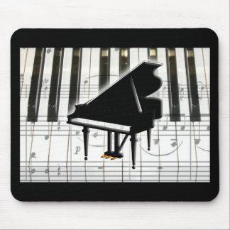 Teclado y notas de piano de cola tapete de raton